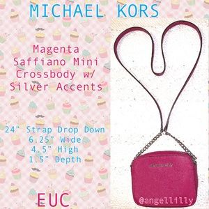 Michael Kors Saffiano Magenta Mini Crossbody